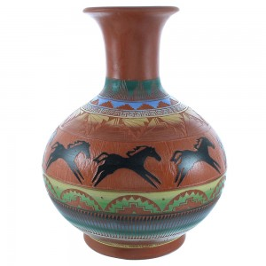 Navajo Hand Crafted Horse Pottery- American Indian By Artist Grey TX103756