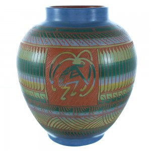 Navajo Hand Crafted Kokopelli Pottery- Native American Vase By Artist N. Sum TX103757