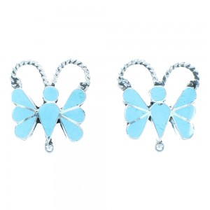 Turquoise Authentic Sterling Silver Zuni Butterfly Post Earrings TX103363