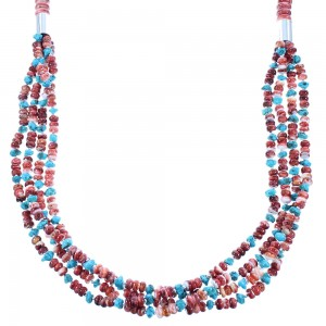 Sterling Silver 4-Strand Red Oyster Shell And Turquoise Navajo Indian Bead Necklace RX103563