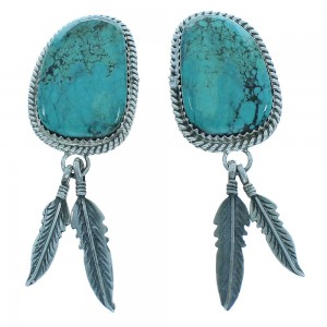 Native American Genuine Sterling Silver Turquoise Navajo Feather Post Dangle Earrings TX103600