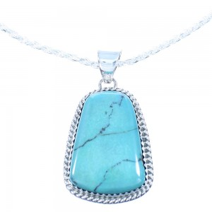 "15-3/4"" Italian Rope Chain Necklace And Genuine Sterling Silver Turquoise Navajo Pendant TX103919"