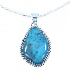 "15-3/4"" Italian Rope Chain Necklace And Sterling Silver Turquoise Navajo Pendant TX103913"