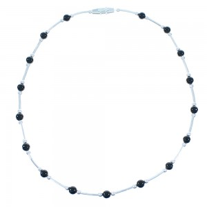 Liquid Sterling Silver Onyx Bead Anklet TX103968