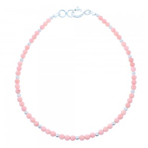 Sterling Silver Pink Coral Bead Bracelet TX103967