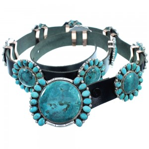 Native American Authentic Sterling Silver Turquoise Navajo Concho Belt TX104009