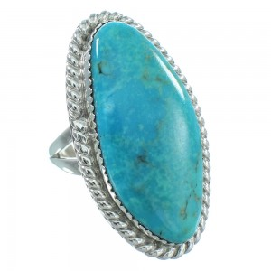 Native American Turquoise Sterling Silver Navajo Ring Size 8-3/4 TX104000