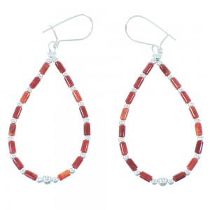 Genuine Sterling Silver Red Oyster Shell Bead Hook Dangle Earrings QX104012