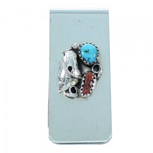 Native American Turquoise Coral And Sterling Silver Navajo Leaf Money Clip TX104169