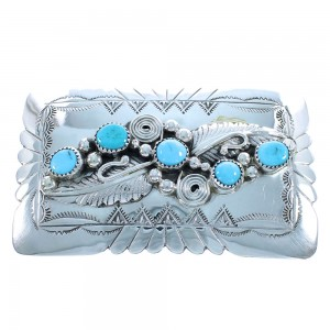 Navajo Authentic Sterling Silver Turquoise Leaf Belt Buckle TX104183