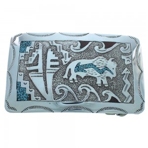 Genuine Silver Turquoise Coral Navajo Water Wave And Buffalo Belt Buckle TX104181