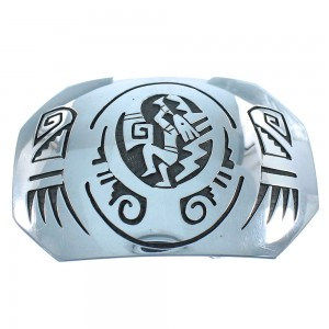 Authentic Sterling Silver Kokopelli Water Wave American Indian Navajo Belt Buckle TX104532
