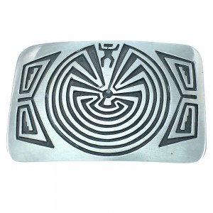 Native American Man In The Maze Authentic Sterling Silver Navajo Belt Buckle TX104489