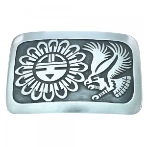 Eagle And Sunface Genuine Sterling Silver Navajo Belt Buckle TX104525