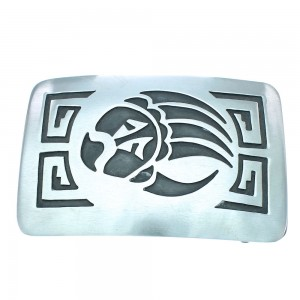 Navajo Authentic Sterling Silver Native American Bear Paw Water Wave Belt Buckle TX104509