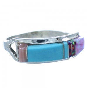 Zuni Multicolor Inlay Sterling Silver Ring Size 5-1/4 SX104240