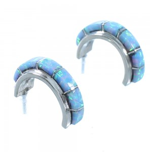 Zuni Blue Opal Sterling Silver Post Hoop Earrings SX104293