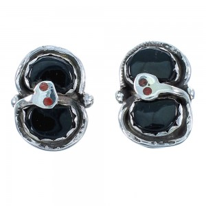 Coral And Onyx Genuine Sterling Silver Zuni Effie Calavaza Snake Clip On Earrings SX104300