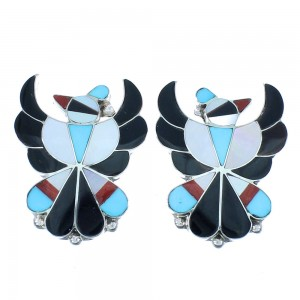 Mulitcolor Inlay Sterling Silver Zuni Thunderbird Post Earrings SX104305