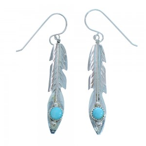 Turquoise Authentic Sterling Silver American Indian Navajo Feather Hook Dangle Earrings TX104291
