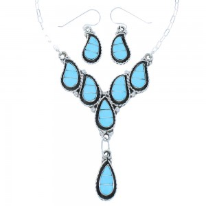 Zuni Turquoise Athentic Sterling Silver Necklace Set TX104723