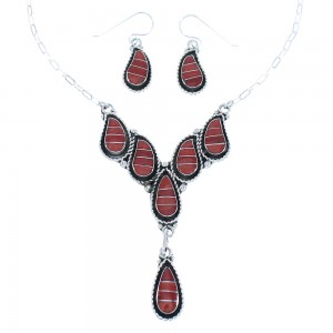 Coral Genuine Sterling Silver Zuni Necklace Set TX104724