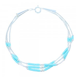 Turquoise Hand Strung Genuine Liquid Sterling Silver Bracelet SX104572