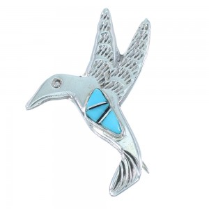 Navajo Authentic Sterling Silver Turquoise And Jet Inlay Hummingbird Pin SX104524