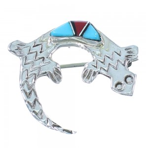 Navajo Multicolor Inlay Authentic Sterling Silver Gecko Pin Pendant SX104483