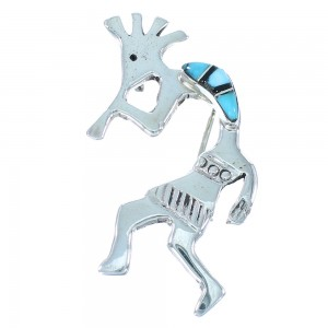 Navajo Sterling Silver Kokopelli Turquoise And Jet Inlay Pin Pendant SX104464