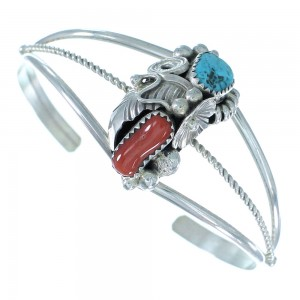 Sterling Silver Turquoise And Coral Navajo Leaf And Flower Cuff Bracelet TX104542