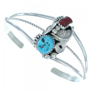 Silver Turquoise And Coral Leaf And Flower Navajo Cuff Bracelet TX104543