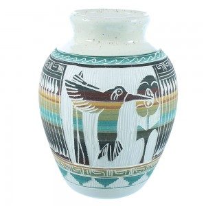 Navajo Indian Hand Crafted Flower And Hummingbird Pot By Artist Tamaria Arviso TX104900