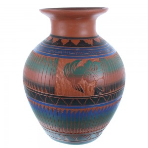 Handcrafted American Indian Flower And Hummingbird Pot By Artist Bernice Watchman Lee TX104996