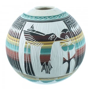 Hand Crafted Pottery- Navajo Kokopelli Pot By Artist Agnes Woods TX104729