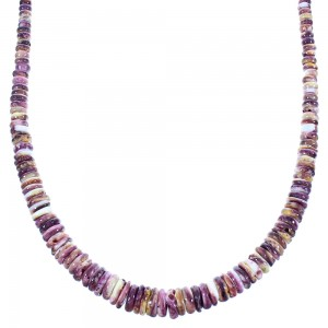 Genuine Sterling Silver Purple Oyster Shell Navajo Bead Necklace SX104788