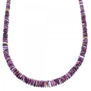 Purple Oyster Shell Authentic Sterling Silver Navajo Bead Necklace SX104790