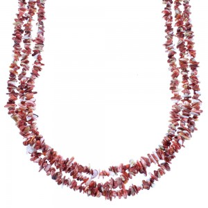 Sterling Silver Red Oyster Shell Navajo Bead Necklace SX104796