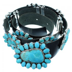 Navajo Turquoise And Genuine Sterling Silver Concho Belt SX105010