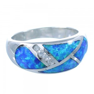 Southwestern Blue Opal Sterling Silver Ring Size 6 EX56091