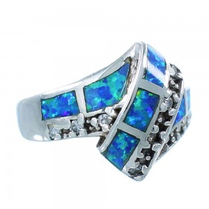 Blue Opal Inlay Authentic Sterling Silver Size 5-3/4 Jewelry AS50079