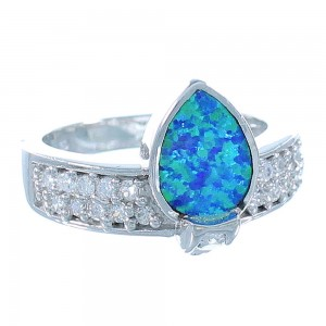 Sterling Silver And Blue Opal Inlay Ring Size 8 Jewelry AS51607