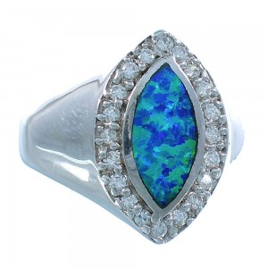 Sterling Silver Southwest Jewelry Blue Opal Ring Size 7-3/4 RS51056