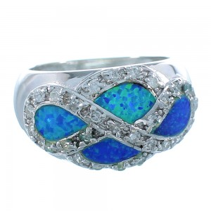 Blue Opal Inlay Authentic Sterling Silver Ring Size 6-3/4 DS50998