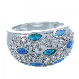 Sterling Silver Jewelry And Blue Opal Inlay Ring Size 7-3/4 DS51025