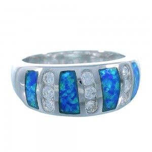 Sterling Silver And Blue Opal Inlay Jewelry Ring Size 7-3/4 DS49360