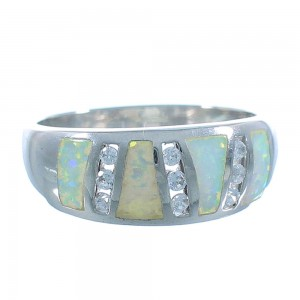 Genuine Sterling Silver And Opal Inlay Ring Size 9-3/4 EX53238