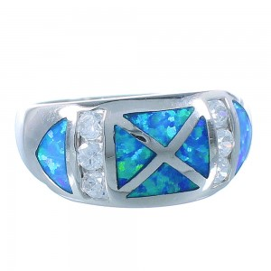 Blue Opal Inlay And Silver Jewelry Ring Size 6-3/4 RS51326