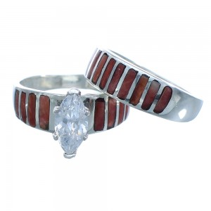 Red Oyster Shell Silver Wedding Band Ring Set Size 4-3/4 NS40773