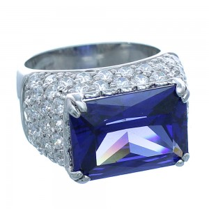 Cubic Zirconia And Tanzanite Sterling Silver Southwestern Ring Size 5 AX71373